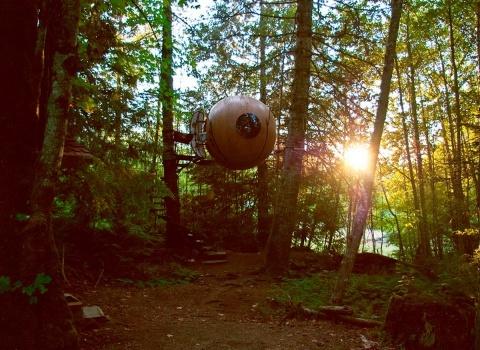 Free Spirit Spheres, Canada. Чтобы попасть внутрь, гостям нужно будет пройтись по прекрасной винтовой лестнице установленной вокруг дерева