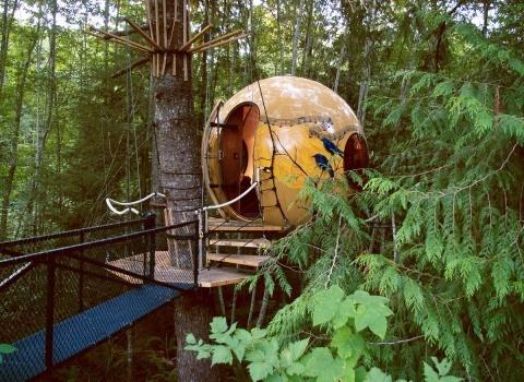 Free Spirit Spheres, Canada. Создатели позиционируют сферу «Мелодия» (отельFree Spirit Spheres, Canada) не только как место для отдыха туристов, а еще как место для вдохновения писателей, художников и других артистов
