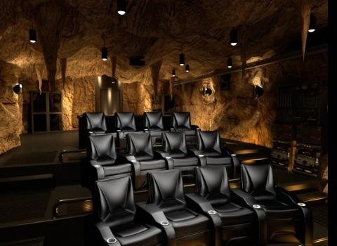 The Batcave, Taiwan. Уютный небольшой кинотеатр оформленный вBat стиле.